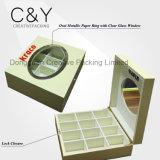 12 sacos de chá de madeira dos compartimentos que empacotam a caixa com indicador de vidro