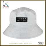 Doppi cappello bianco della benna del cotone del contrassegno tessuto lati su ordinazione