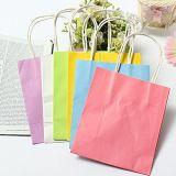 Buntes Packpapier-Geschenk-Beutel-Hochzeitsfest-Griff-Papier-Geschenk-Beutel-Braunes Packpapier mit Farben-Drucken-Einkaufstasche