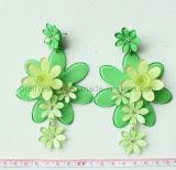 Mezclar y combinar la moda verde y Ching Danza flores verdes acrílico pendientes (PE-056)