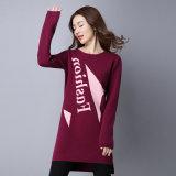 El algodón de seda mezcló la alineada que hacía punto, Pullover Sweater de señora