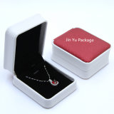 Rectángulo de empaquetado del regalo de la joyería de cuero falsa hecha a mano de lujo de los anillos dobles