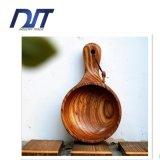 Grande ciotola di legno della tagliatella degli articoli per la tavola su ordinazione di marchio con la maniglia lunga