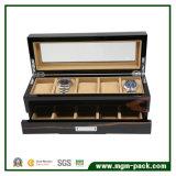 Fantastischer schwarzer hölzerner Uhr-Kasten mit 5 Schlitzen