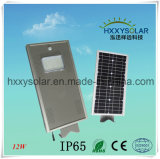 IP65 6500K 12W Luz Rua Solar LED integrado