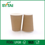 Tazza di caffè di carta Heatproof a gettare del Kraft della parete triplice