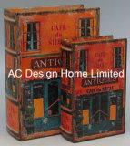S/2 Diseño Bistro de cuero de PU/madera MDF Cuadro de la libreta de almacenamiento de impresión
