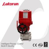 Robinet à tournant sphérique d'acier inoxydable de 3 parties avec le dispositif d'entraînement électrique d'anti décomposition