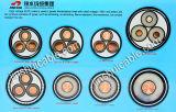 Напряжение низкого и среднего напряжения XLPE изолированных медных провода кабеля питания