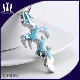 Op488青いエナメルフレームの十字のネックレス
