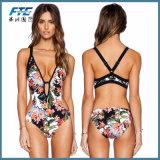 2018 Bikini calções de Mulheres Swimsuit Bikins Branco Impressão Floral Definido