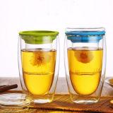 tasse de café en verre de la course 16oz de tasse de thé de cuvette de mur en verre Anti-Chaud de double