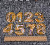 Número de moda personalizada parche 3D Crystal Beads Motif aplique para la ropa