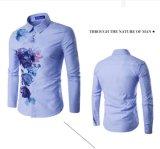 호리호리한 형식 주름 우연한 남자의 셔츠를 자유롭게 인쇄하는 Hotsell 식물상