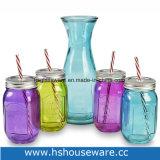 insieme di vetro variopinto del vaso di muratore di stile dell'annata 5PCS & della bevanda del Carafe