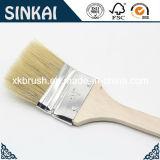 Brosse pliée avec le long embout en bois de poignée et de bidon