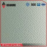 Серебристый цвет окрашены рельефным акт композитные панели из алюминия (ID-011)