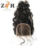 Chiusura indiana riccia del merletto della parte superiore dei capelli di Remy del Virgin della parte centrale