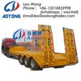 Aotong 60tons niedriger Bett-Plattform-halb Schlussteil mit seitlicher Wand
