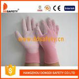 Ddsafety 2017 gants enduits de sûreté d'unité centrale de blanc en nylon rose