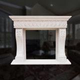 Grande lareira de mármore na qualidade de design floral Hand-Carved Fino