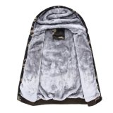 Застежка -молния 2017 людей вверх по шерстям фуфайки Hoodies ватки Hooed курток зимы греет толщиные пальто