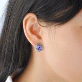 Женщин оптовой фиолетовый большой камень кристально белого золота Earring
