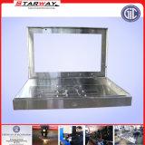 ステンレス鋼の土台の金属を広告するTVのコンピュータ