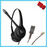 Auriculares biauriculares do centro de chamadas Rj11 para auriculares do telefone com o coxim da orelha da espuma