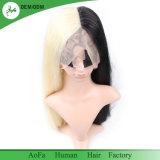 Meia peruca preta parcialmente loura do cabelo humano da alta qualidade 100%