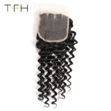 高品質9Aの等級のバージンのRemyのブラジルの毛、3部分4X4のレースの閉鎖の深い波(TFH18)