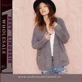 Form-Frauen tiefe V-Stutzen Pullover-Strickjacke (TGLDS6189)