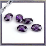 De Buena Calidad Amatista Color Double Checker Corte Oval CZ Piedra