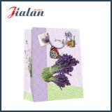 Lavandas impresas 4c de la aduana pila de discos el bolso del regalo del papel del portador de las compras