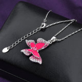 Pink Butterfly Penant Bisutería Mujer Collar de cristal