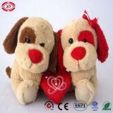 中心のプラシ天のバレンタインのギフトの柔らかいおもちゃを持つ二重テディ犬
