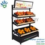 Crémaillère métallique de présentoir d'étage de fruits et légumes de supermarché