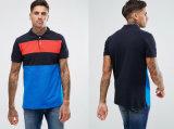 Blaues Zug-Bären-Kurzschluss-Hülsen-Kontrast-Streifen-Polo-Hemd
