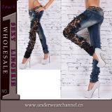 Il denim sexy del cotone delle donne ricama i jeans (TSN00363)