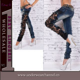 Reizvolles Frauen-Baumwolldenim sticken Jeans (TSN00363)