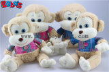 En71 aprobado adorable bebé mono de peluche juguete con camiseta azul Bos1161