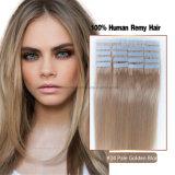 #24 бледнеют золотистые белокурые оптовые индийские бразильские перуанские волосы ленты PU таможни Brown белокурые