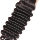 Haar-Menschenhaartoupee-Spitze-Schliessen-Jungfrau-Haar der tiefen Wellen-4X4 peruanisches