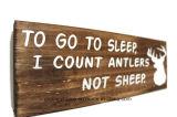 "Vintage signos de madera. ""Ir a dormir Cuento cornamenta no Ovejas"""