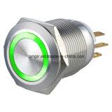 19mm 1no1nc momentané imperméabilisent le commutateur de bouton poussoir de véhicule en métal d'acier inoxydable
