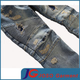 Distressed Patchwork Accent Rust Wash Jeans Scratch Men Washed Hole Jeans (JC3400)