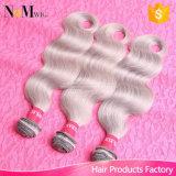 Do cabelo brasileiro brasileiro novo do Virgin da onda do corpo de 2017 Weave cinzento do cabelo extensões das tramas do cabelo humano de cinza de prata da forma