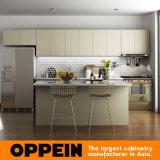 Самомоднейшая мебель кухни серого цвета HPL деревянная оптовая с островом (OP15-HPL03)