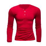 Longs T-shirts de la chemise des hommes avec la fermeture de bouton