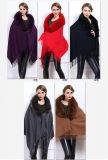 女性の方法キツネの毛皮カラーアクリルの編まれた冬のショール(YKY4524)